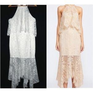 Shona Joy Highneck Layered Lace Midi Dress NEW 8